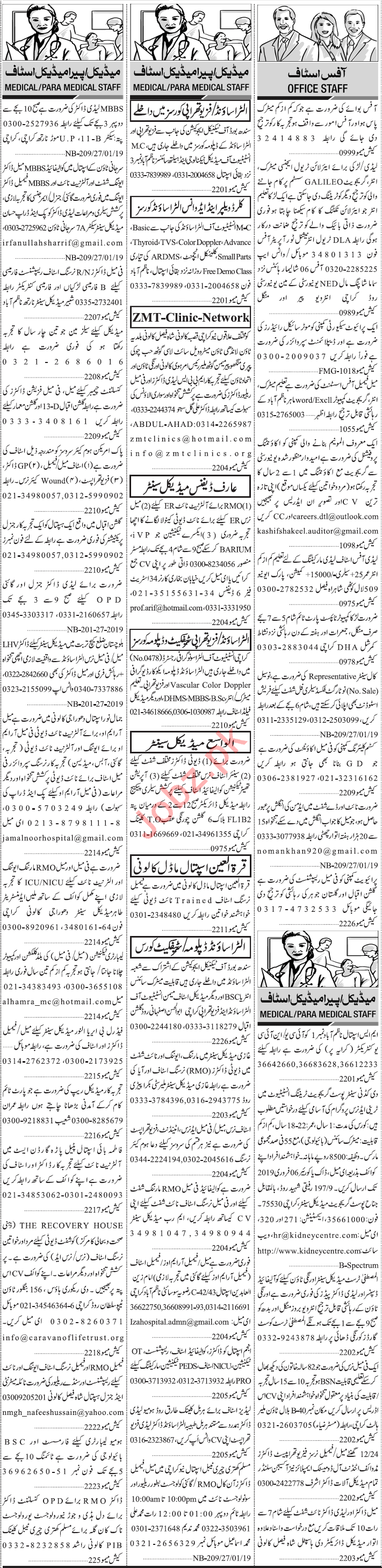 Jang Sunday Classified Ads 27th Jan 2019 for Medical Staff