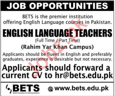 British Education Training System BETS Teaching Jobs 2019
