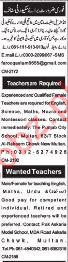 Teachers & Security Guards Jobs 2019 in Multan