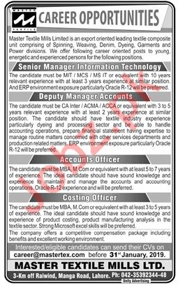 Master Textile Mills Lahore Jobs 2019 for Managers 2019 Job