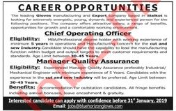 Chief Operating Officer & Manager Quality Assurance Jobs