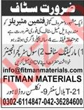 Fitman Materials Lahore Jobs 2019 for Engineers