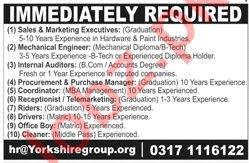 Yorkshire Group Lahore Jobs 2019 for Executives & Drivers