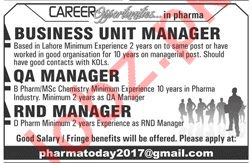 Business Unit Manager, QA Manager, RND Manager Jobs 2019