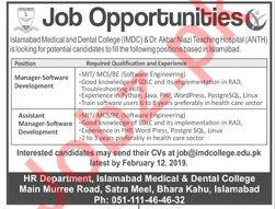Islamabad Medical & Dental College Manager Software Jobs