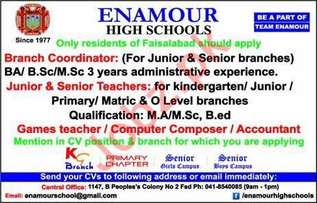 Enamour High Schools Jobs 2019 in Faisalabad