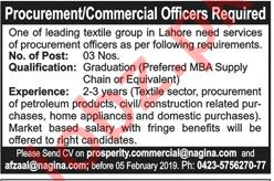 Nagina Textile Group Lahore Jobs 2019 for Commercial Officer 2019