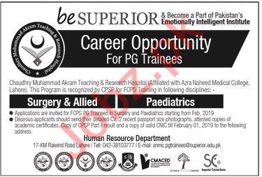 Chaudhry Muhammad Akram Teaching Hospital Jobs 2019