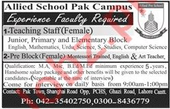 Allied School Campus Lahore Jobs 2019 for Teachers
