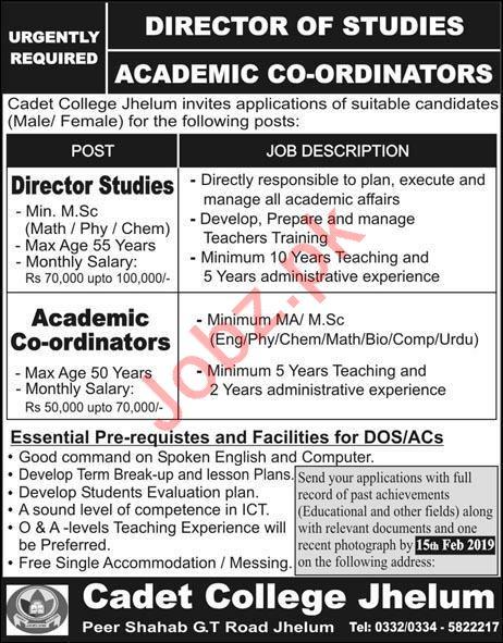 Cadet College Jhelum Jobs 2019