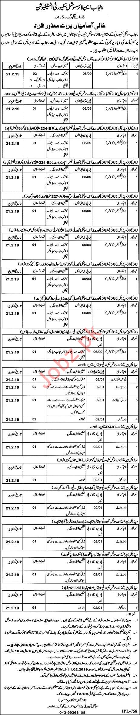 Punjab Employees Social Security Institution Jobs 2019