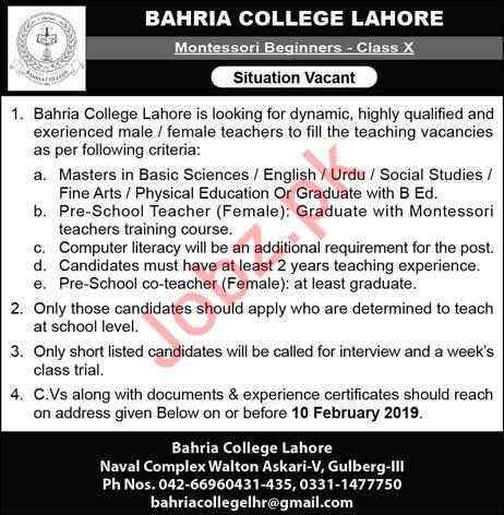 Pak Navy Bahria College Teaching Jobs 2019 in Lahore