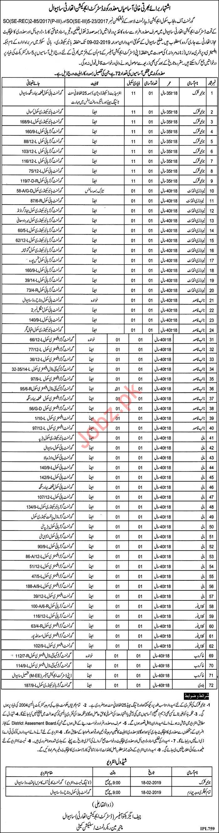 District Education Authority Jobs 2019 in Sahiwal