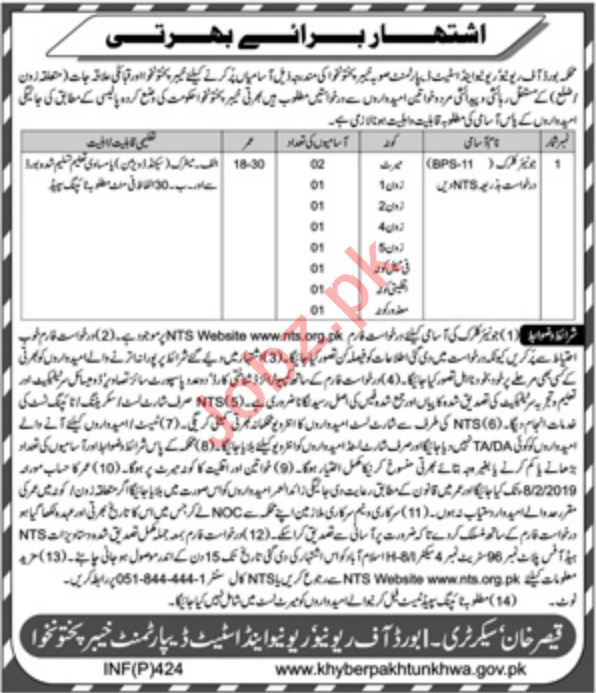 ca140564 Board Of Revenue KPK Jobs 2019 for Junior Clerk 2019 Job ...