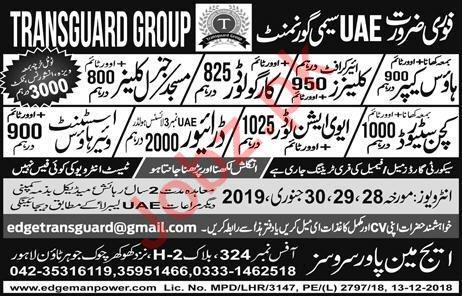 Transguard Semi Government Group Jobs 2019 In Dubai UAE