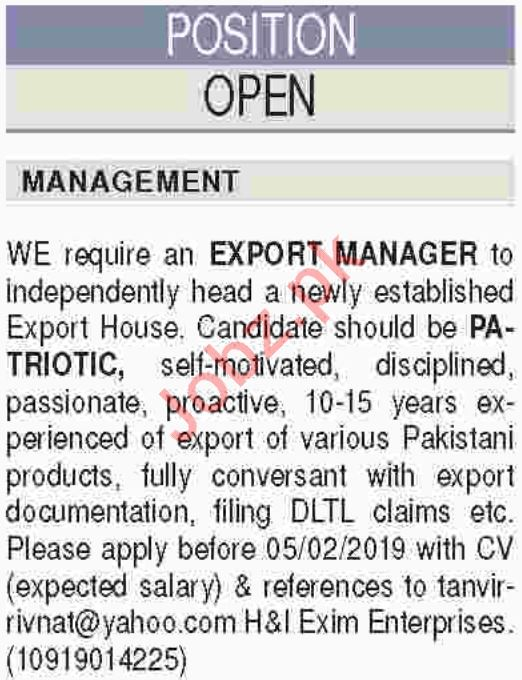 Export Manager, Receptionist & Telephone Operator Jobs 2019