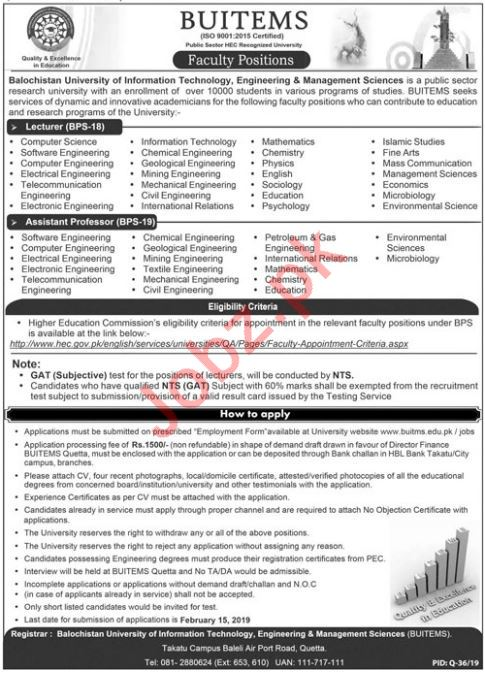 BUITEMS University Quetta Jobs 2019 for Lecturers