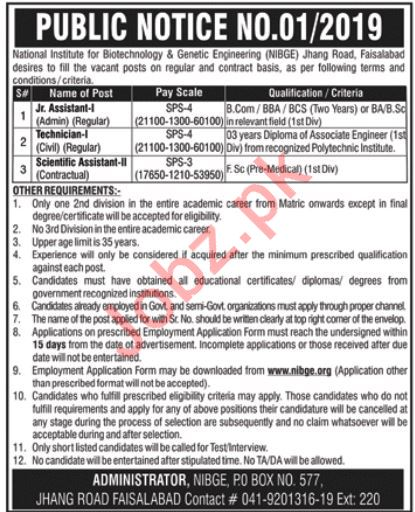 National Institute for Biotechnology NIBGE Faisalabad Jobs