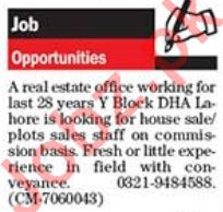 Real Estate Company Sales Jobs in Lahore
