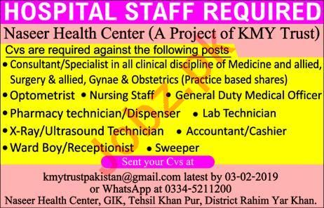 Naseer Health Center Jobs in Rahim Yar Khan