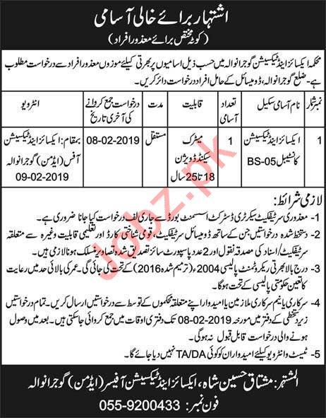 Excise Taxation & Narcotics Control Department Job 2019