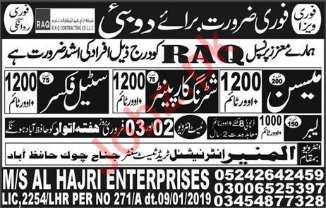 RAQ Contracting Company LLC Construction Jobs For UAE