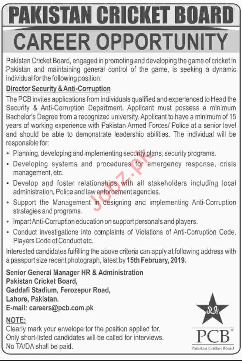 Pakistan Cricket Board PCB Lahore Jobs for Director Security