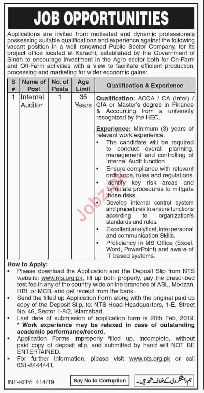 Public Sector Company Karachi Jobs 2019 for Internal Auditor