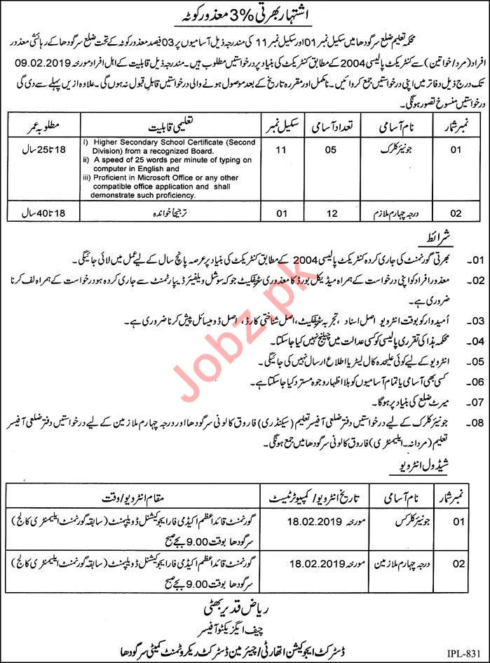 Education Department Sargodha Jobs 2019 for Junior Clerk