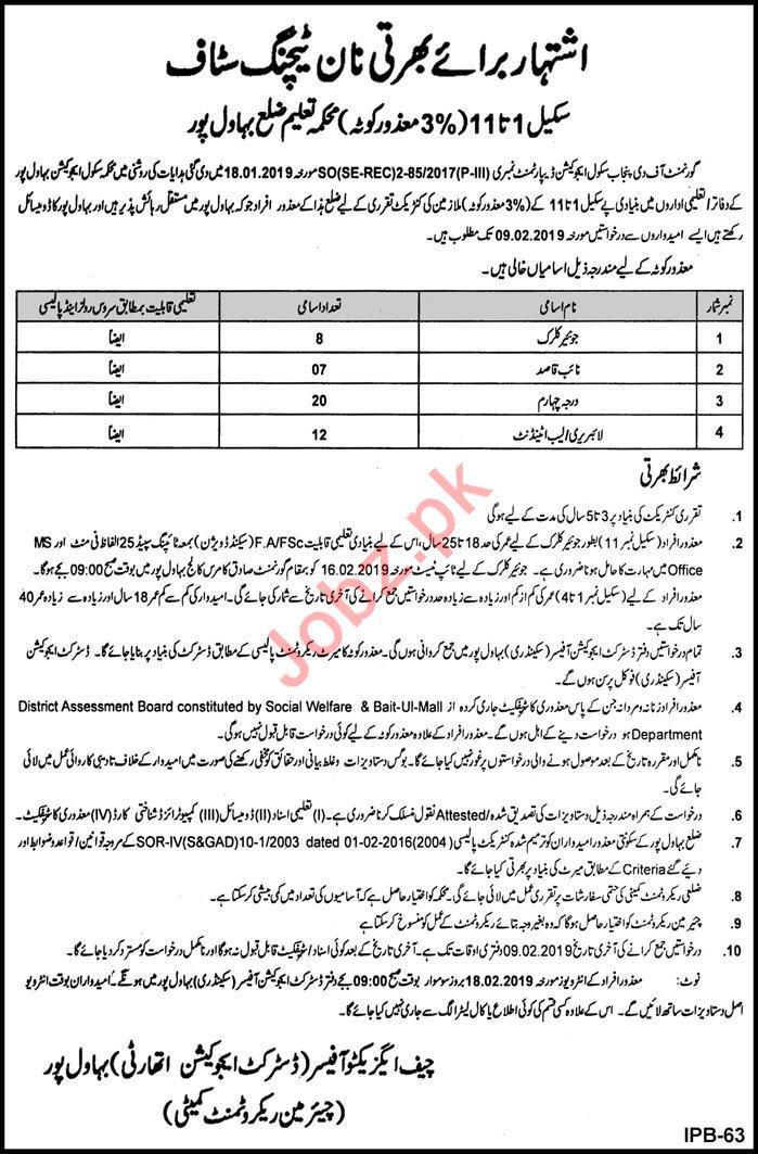 District Education Authority Bahawalnagar Jobs 2019