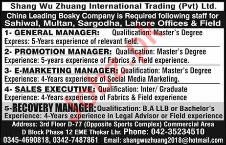 Shang Wu Zhuang Trade International Lahore Jobs 2019