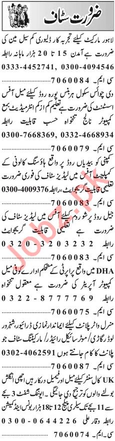 Daily Jang Newspaper Classified Jobs 2019 In Lahore