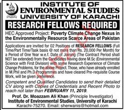 University of Karachi Research Fellow Jobs 2019