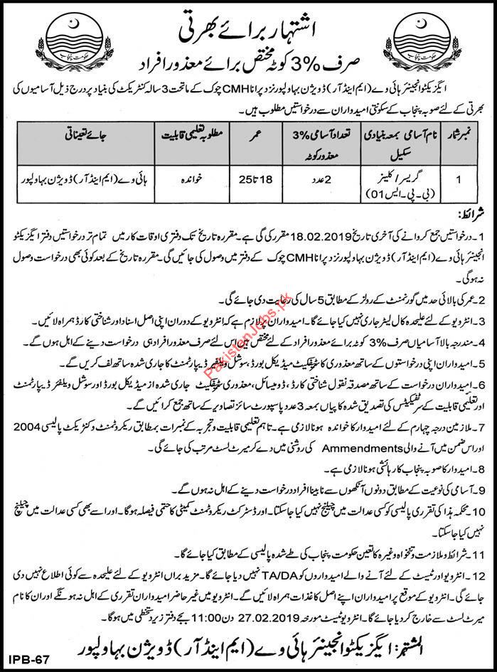Gracer Jobs in Highway Division Bahawalpur