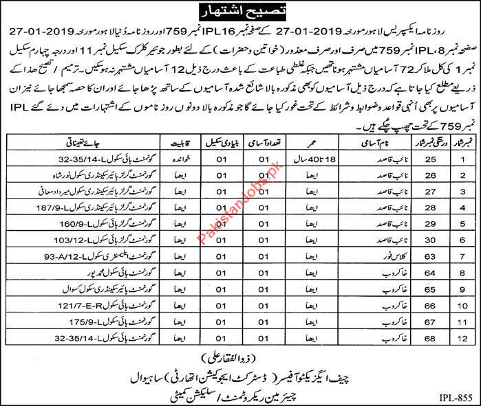 District Education Officer Clerical Jobs 2019