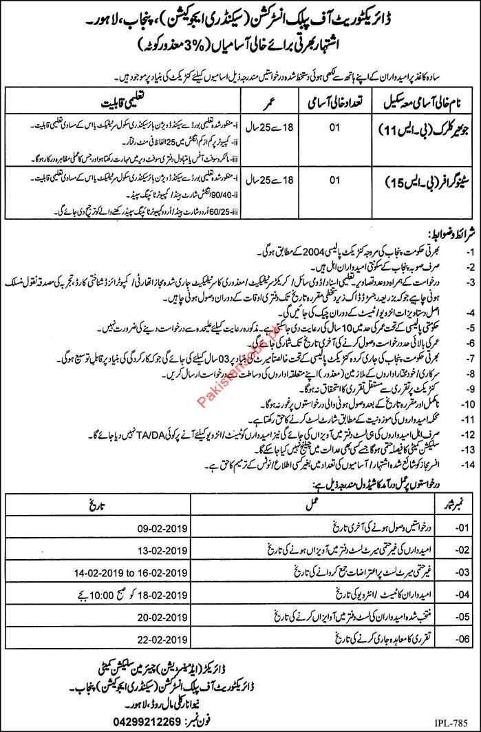 Clerical Jobs in Directorate of Public Instruction