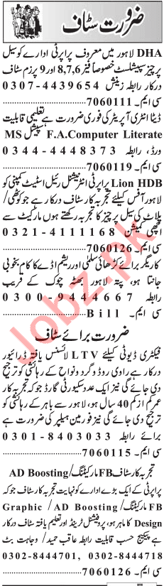 Daily Jang Miscellaneous Staff Jobs 2019 in Lhaore