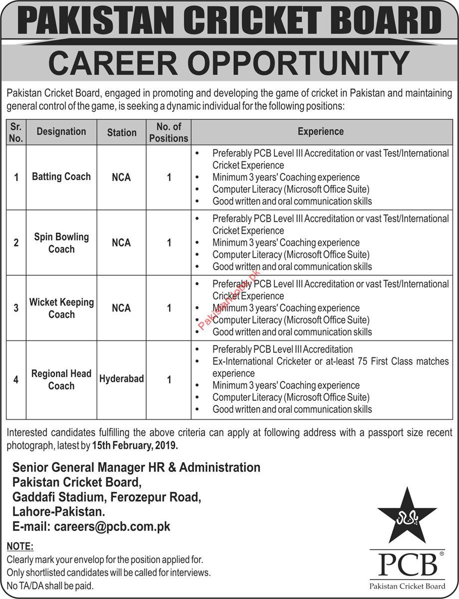 Pakistan Cricket Board PCB Batting Coach Jobs 2019
