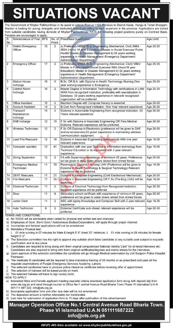 rescue 1122 kpk khyber pakhtunkhwa jobs 2019 via ots 2019