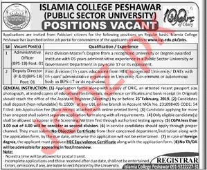 Islamia College Peshawar ICP Jobs For Peshawar KPK