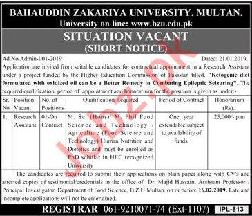 Bahauddin Zakariya University BZU Job For Multan