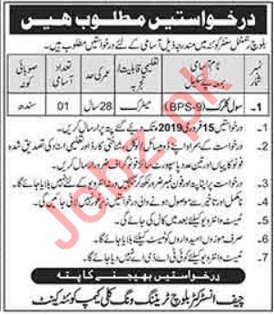 Baloch Regiment Center Quetta Jobs 2019 for Clerk