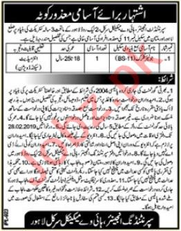 Highway Mechanical Division Lahore Jobs 2019 for Clerk