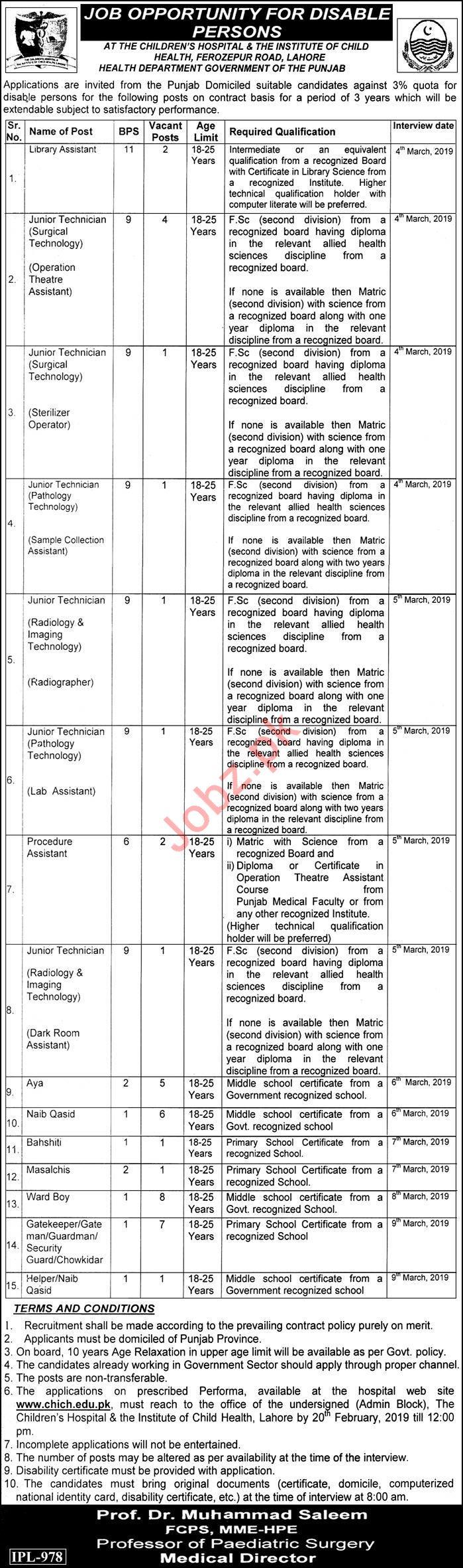 Children Hospital Lahore Jobs 2019 for Junior Technicians