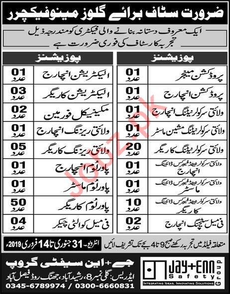 Jay Enn Safety Group Faisalabad Jobs 2019