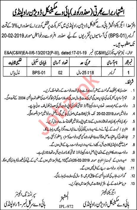 Highway Mechanical Division Rawalpindi Jobs 2019