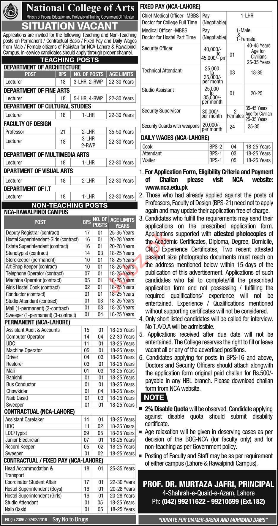 National College of Arts NCA Rawalpindi Jobs 2019