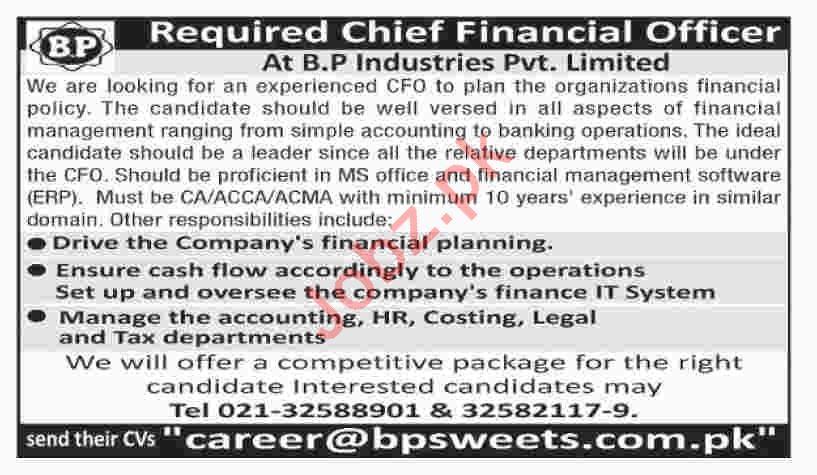 BP Industries Chief Financial Officer Jobs