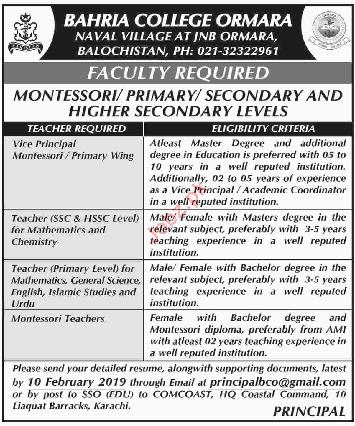 Montessori Teacher Jobs at Bahria College Ormara