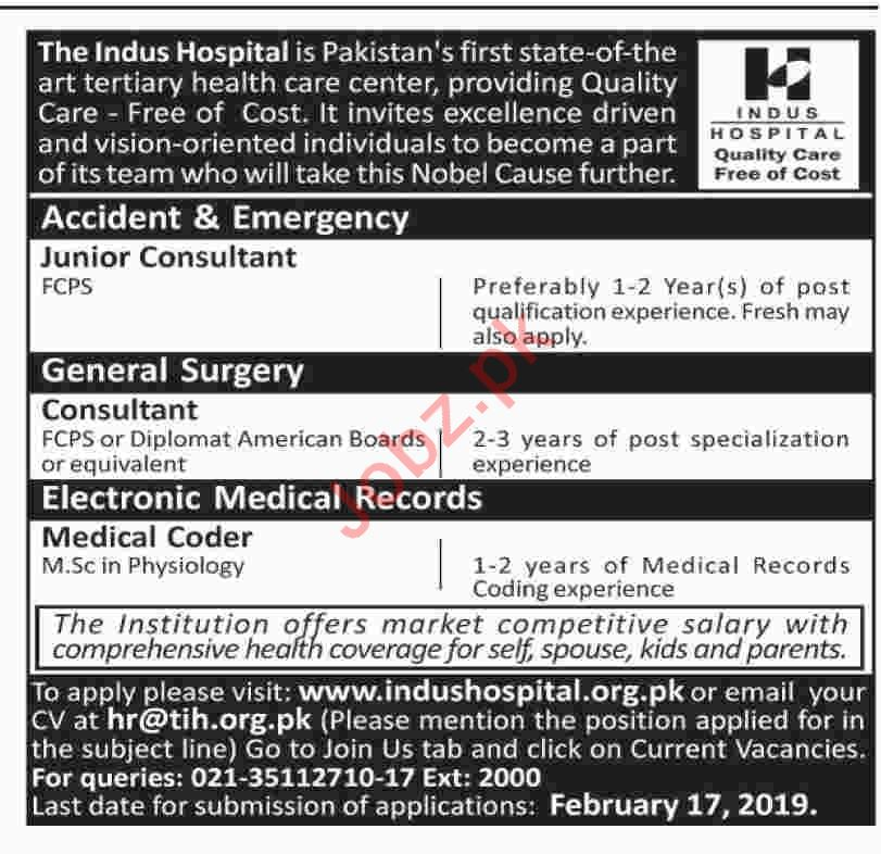 Consultant Accident and Surgery Jobs at Indus Hospital